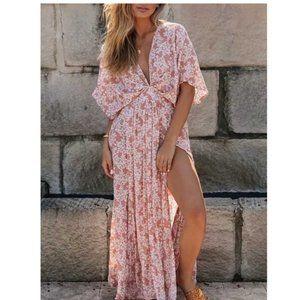 Boho Chic Gypsy Floral Print Maxi Dress